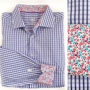 Bugatchi Uomo Contrast Cuff Plaid Shirt 17 1/2